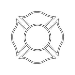 Firefighter emblem icon. Element of Fireman for mobile concept and web apps icon. Outline, thin line icon for website design and development, app development