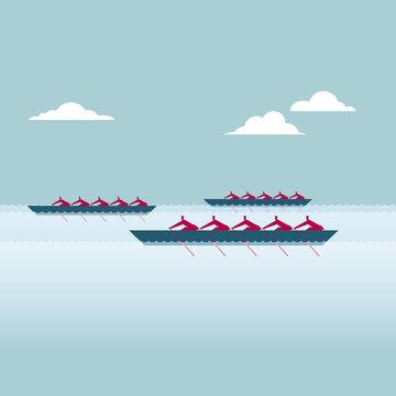 Teamwork concept design. A group of businessmen rowing a match.