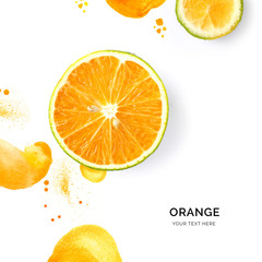 Creative layout made of orange on the watercolor background. Flat lay. Food concept.