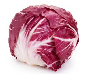 Fototapete - Fresh radicchio on white background. Red salad.