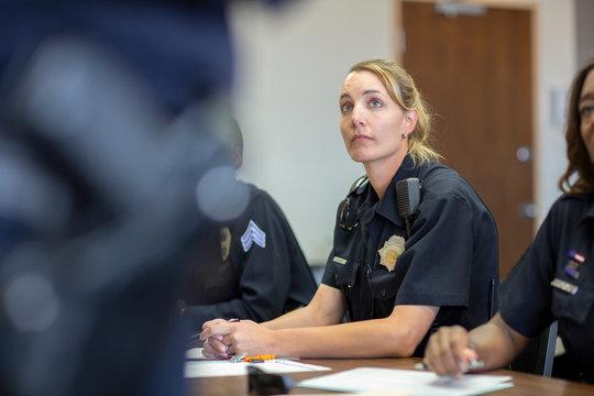 Police Woman Classroom Preparation