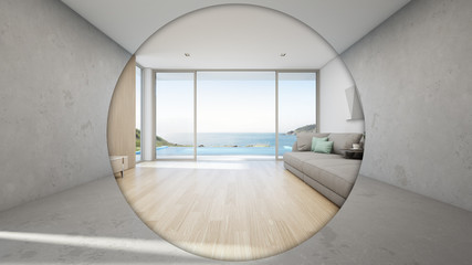 Wall Mural - Sea view large living room of luxury summer beach house with big glass door and empty concrete floor in renovation concept. Vacation home or holiday villa interior 3d illustration.