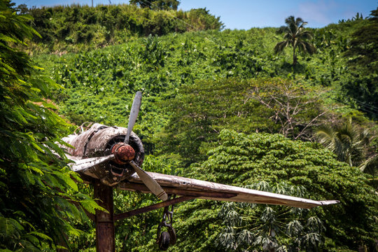 A World War II airplane Monument on the island of Bougainville in Papua New Guinea