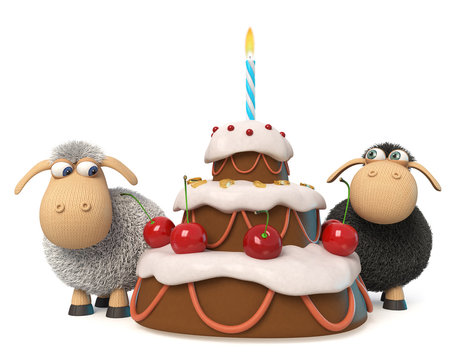 3d illustration funny sheep with cake/3d illustration relationship between the two sheep at the birthday party