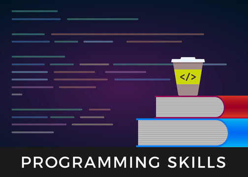 Programming skills - code learning or coding learn flat design concept. Program source development code in background. And books for programmer training and a cup of coffee.