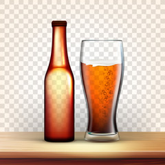 Realistic Bottle And Glass With Bubble Beer Vector. Mockup Of Brown Bottle With Metallic Cap On Top And Blank Label Near Foamy Drink In Goblet Isolated On Transparency Grid Background. 3d Illustration