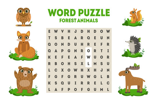 Word Search Puzzle with Forest Animals, Educational Game for Kids Vector Illustration
