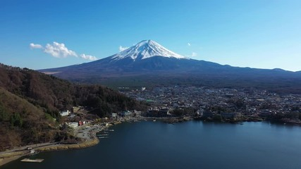 Wall Mural - Aerial view of Fuji mountains and Fujikawaguchiko city in Japan.