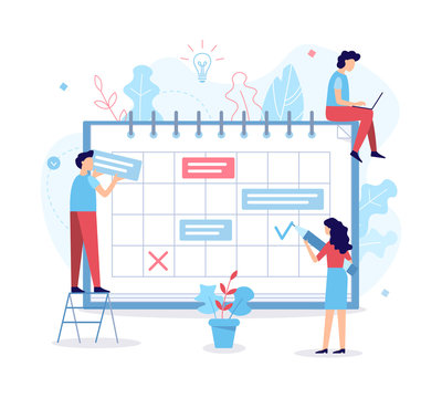 Planning schedule. Time management concept. Flat vector illustration.