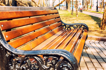 Wooden bench with a metal pattern in the park on a sunny day. Close-up.