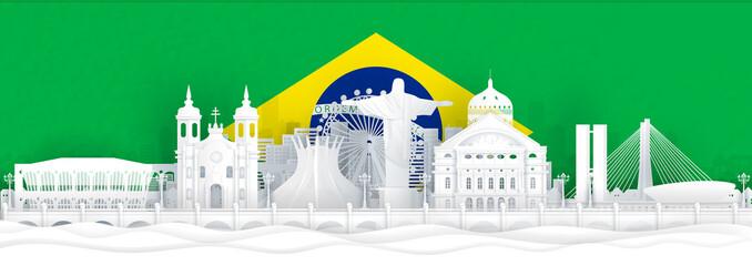Fototapete - Brazil flag and famous landmarks in paper cut style vector illustration