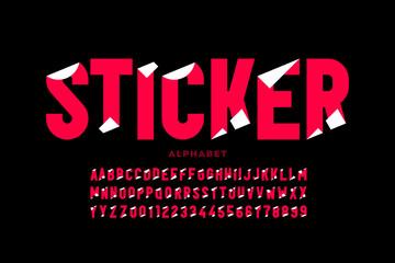 Fototapeta Sticker style font design, alphabet letters and numbers obraz