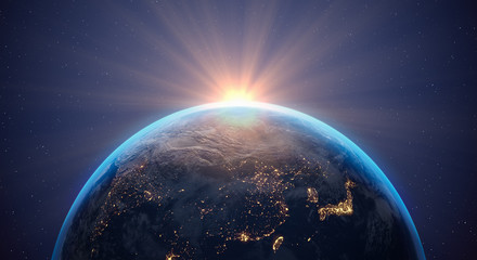 3d Illustration - planet Erde - Weltall - Weltraum - Erdball - Sonnenaufgang