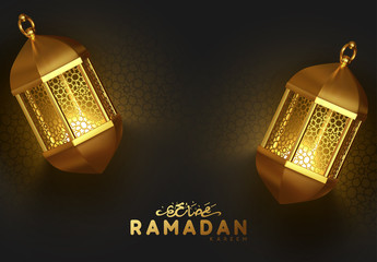 Ramadan background with golden burning vintage lanterns. Arabic calligraphic text of Ramadan Kareem