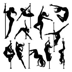 Fototapeta A set of women pole dancers exercising for fitness in silhouette obraz