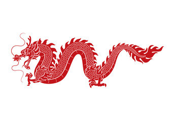 graphic red dragon, vector