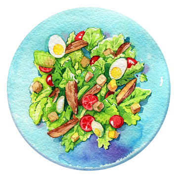 salad Caesar plate chicken eggs tomatoes watercolor isolated