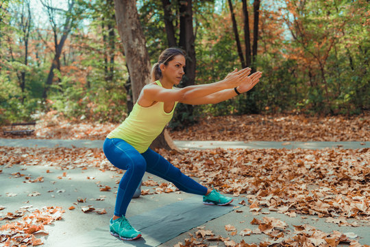 Side Lunges, High-Intensity Interval Training Outdoors.