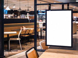 Mock up Poster frame template in Cafe table and seats interior Advertising banner