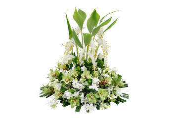 Wedding floral decoration with tropical green leaf plants and exotic flowers (dancing lady ginger, white orchids and Curcuma), floral arrangement bouquet isolated on white with clipping path. Wall mural