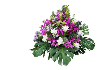 Wall Mural - Wedding floral decoration with tropical foliage plants (Monstera, fern, lady palm) and exotic flowers (purple orchids and Curcuma), floral arrangement bouquet isolated on white with clipping path.