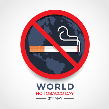 world no tobacco day banner with  red circle stop tobacco sign on earth texture background vector design