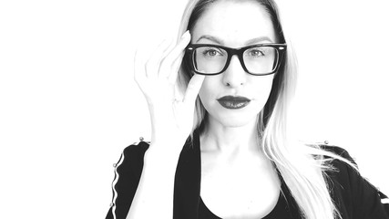 Black and white sketch woman in glasses