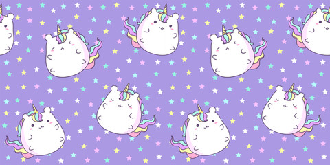 Pattern seamless with cute unicorn on star background in pastel color. Kawaii unicorn background for kid