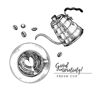 Coffee set. Hand drawn coffee cup from above and kettle. top view of mug of cappuccino. Vector engraved icon. Morning fresh drink. For restaurant, cafe menu, coffee shop flyer, banner design template.