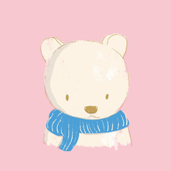The character of the bear in the scarf