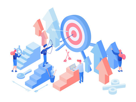 Marketing team working isometric vector illustration