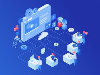 Web hosting platform isometric vector illustration