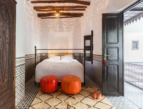 Interior design of bedroom, bathroom and dining room in a morrocan style