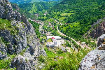 "Panoramic views from via ferrata ""Astragalus"", a popular tourist attraction in Bicaz Gorge (Cheile Bicazului), Neamt county, Romania. Vivid bright nature colors as seen from a mountain top."