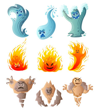 Set of cute water, fire, ground monster, comic character