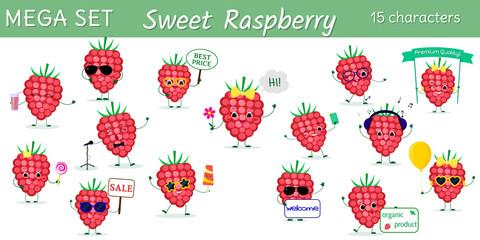 Mega set of fifteen cute kawaii berries raspberries characters in various poses and accessories in cartoon style. Vector illustration, flat design