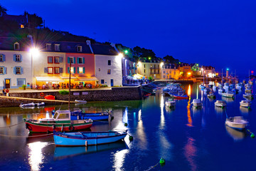 france; brittany,belle-île-en-mer  island  : sauzon port at twilight