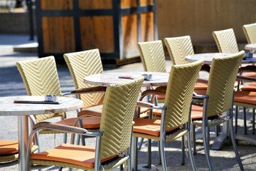 tables and chairs in cafe