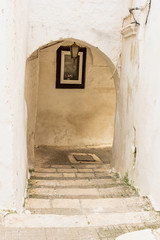 Italy, Ostuni, a typical street in the ancient historic center