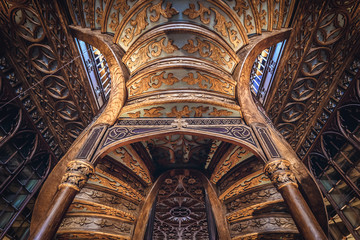 Interior of Lello Bookstore in Porto, Portugal considered to be one of the most beautiful bookstores in the world