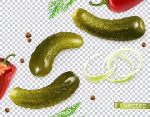 Исходные имена: Pickled cucumbers. Gherkin, dill, pepper, onion, coriander seeds. 3d vector realistic vegetables