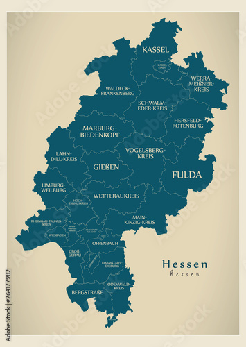 Map Of Germany And Surrounding Counties.Modern Map Hessen Map Of Germany With Counties And Labels Stock