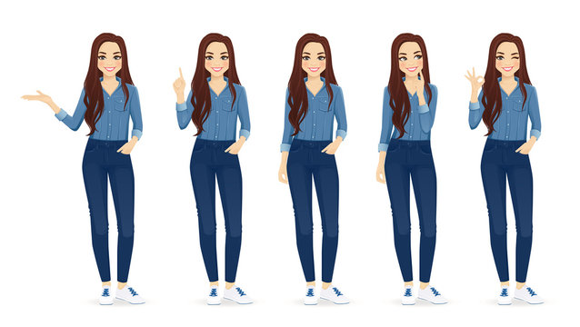 Young woman with long hair in casual denim shirt and jeans set different gestures isolated vector iilustration