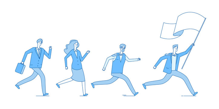 People running with flag. Business persons following leader leading office team. Leadership entrepreneurship vector concept. Illustration of teamwork people running with flag