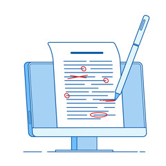 Write edit text concept. Writing editing documents, correct proofreading text essay services vector line concept. Illustration of grammar proofread, edit document