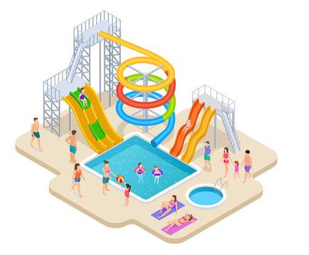 Water park isometric. Aquapark kids slide waterslide aqua recreation summer activities swimming pool leisure game waterpark vector. Illustration of aquapark slide, waterslide and waterpark