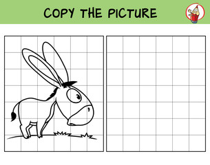 Funny little donkey. Copy the picture. Coloring book. Educational game for children. Cartoon vector illustration
