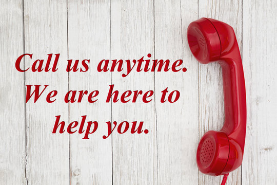 Call us anytime we are here to help text with retro red phone handset