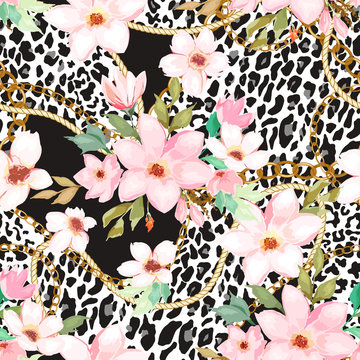 Seamless pattern with gold chain, animal leopard elements and flowers. Vector illustration