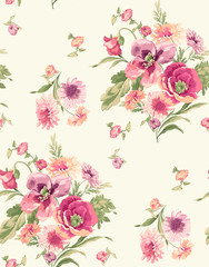 Flowers line fabric pattern